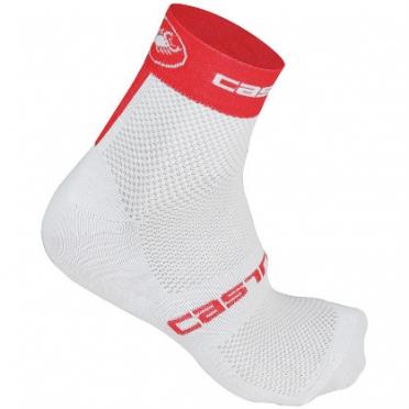 Castelli Free 6 sock wit/rood heren fietssokken 14033-231 2015