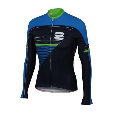 Sportful Gruppetto thermal fietsshirt lange mouw zwart/blauw/groen heren