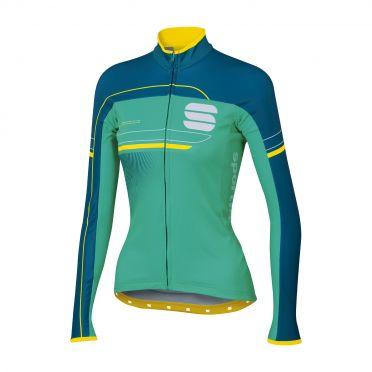 Sportful Grupetto pro W thermal lange mouw fietsshirt groen/blauw dames