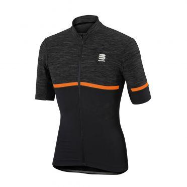 Sportful Giara jersey korte mouw fietsshirt antraciet/oranje heren