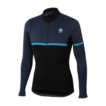 Sportful Giara warm lange mouw fietsshirt zwart/blauw heren