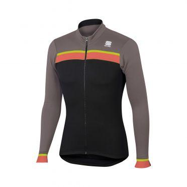 Sportful Pista thermal fietsshirt lange mouw zwart/bruin heren