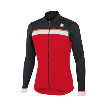 Sportful Pista thermal fietsshirt lange mouw rood/zwart/wit heren