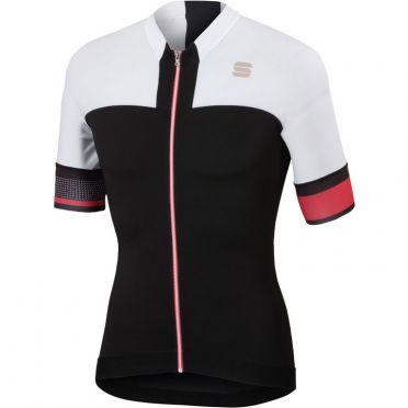 Sportful Strike jersey korte mouw fietsshirt zwart/wit heren