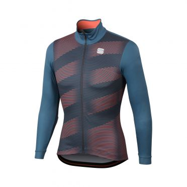Sportful Moire thermal fietsshirt lange mouw blauw/rood heren