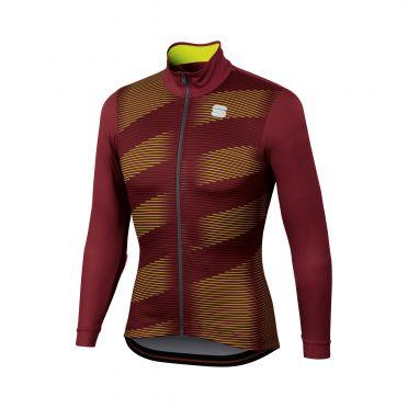 Sportful Moire thermal fietsshirt lange mouw paars/geel heren