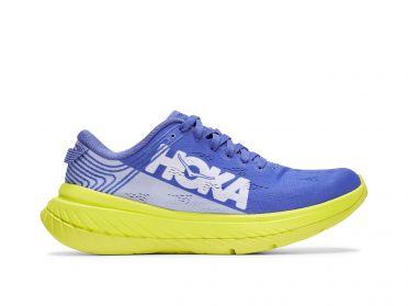 Hoka One One Carbon X hardloopschoenen blauw/geel dames