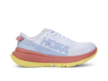 Hoka One One Carbon X hardloopschoenen wit/roze/geel dames