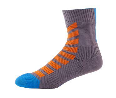 Sealskinz MTB ankle with hydrostop fietssok antraciet/oranje/blauw