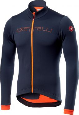 Castelli Fondo fietsshirt lange mouw donker blauw/oranje heren