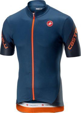 Castelli Entrata 3 FZ fietsshirt korte mouw blauw/oranje heren