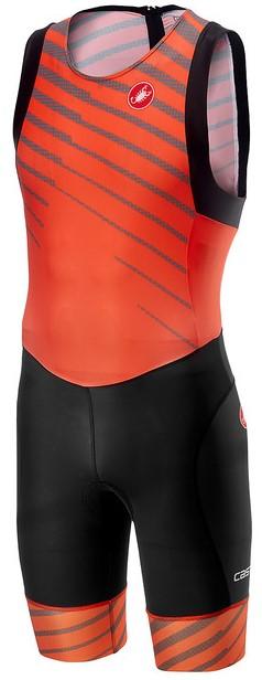 Castelli Short distance race trisuit rits achterzijde mouwloos oranje heren