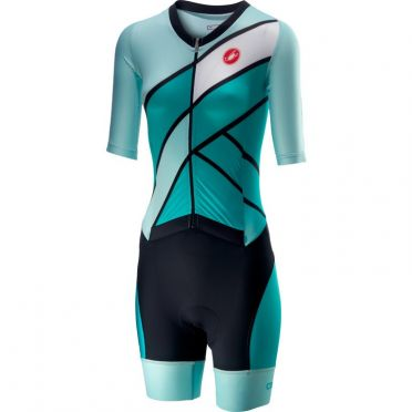 Castelli All out W speed trisuit korte mouw groen/blauw dames