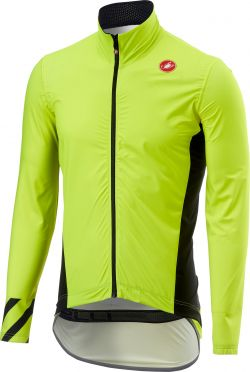 Castelli Pro fit light regen jacket fluo geel heren
