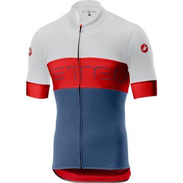 Castelli Prologo VI fietsshirt korte mouw ivoor/rood/blauw