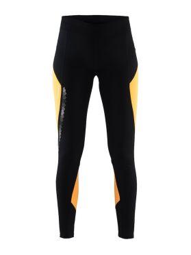 Craft Brilliant 2.0 thermal hardloopbroek zwart/geel dames