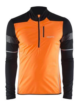 Craft Brilliant 2.0 thermal wind hardloopshirt lange mouw oranje/zwart heren