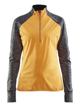 Craft Brilliant 2.0 thermal wind lange mouw hardloopshirt geel/grijs dames
