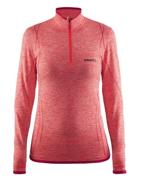 Craft Active Comfort Zip lange mouw ondershirt rood/crush dames