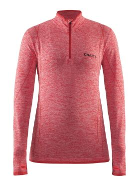 Craft Active Comfort Zip lange mouw ondershirt rood/poppy dames