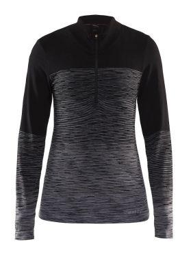 Craft wool comfort 2.0 CN zip lange mouw ondershirt zwart dames