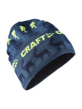 Craft Retro knit muts blauw/geel