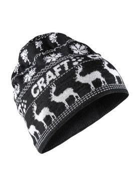 Craft Retro knit muts zwart/wit