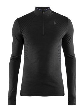 Craft Fuseknit comfort zip lange mouw ondershirt zwart heren