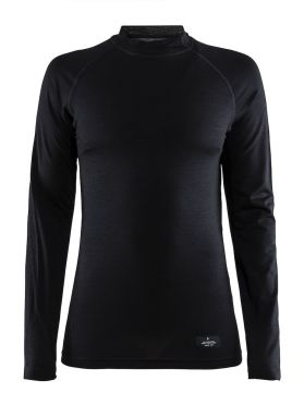 Craft Warm merino lange mouw ondershirt zwart dames