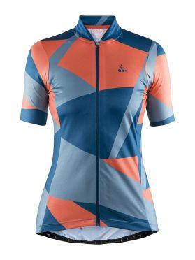 Craft Hale Graphic fietsshirt blauw/oranje dames