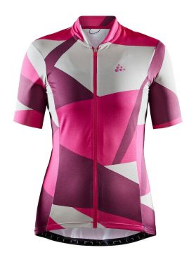 Craft Hale Graphic fietsshirt roze/wit dames