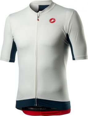 Castelli Vantaggio korte mouw fietsshirt wit/blauw heren
