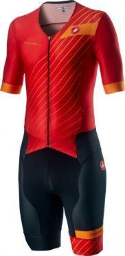 Castelli Free Sanremo 2 trisuit korte mouwen rood/zwart heren