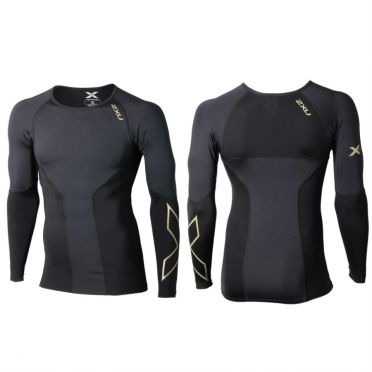 2XU Elite Compression L/S Top crew heren zwart/goud MA3014a