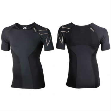 2XU Elite Compression S/S Top-crew zwart heren