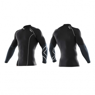 2XU elite compression top mens L/S 2014 zwart/zilver MA1990a