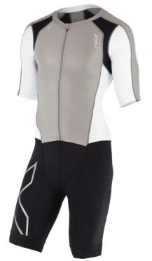 2XU Compression full zip trisuit sleeved zwart/wit/grijs heren