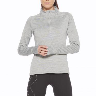 2XU Pursuit Thermal 1/4 Zip hardloopshirt lange mouw grijs dames