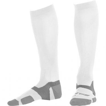 2XU Vectr merino LC Full Lenght compressie hoge sokken wit/grijs