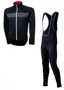 Agu Inverno light fietsbroek met zeem + Nova hivis jacket zwart heren
