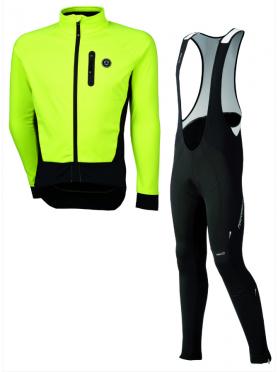 Agu Tarvisio WIND fietsbroek met zeem + Tirano fietsjack geel heren