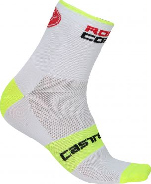 Castelli Rosso corsa 13 fietssokken wit/geel heren