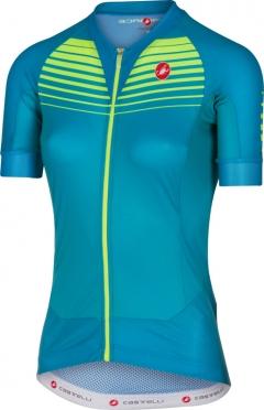 Castelli Aero race W fietsshirt caribbean/geel dames