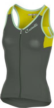 Castelli Solare top mouwloos grijs/fluo geel dames