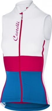 Castelli Protagonista fietsshirt mouwloos wit/roze/blauw dames