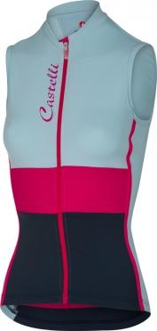 Castelli Protagonista fietsshirt mouwloos blauw/roze/navy dames