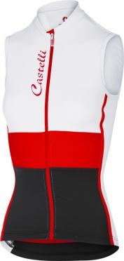 Castelli Protagonista fietsshirt mouwloos wit/rood/zwart dames