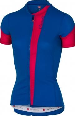 Castelli Spada fietsshirt mat blauw/roze dames