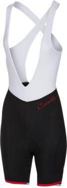 Castelli Vista bibshort fietsbroek zwart/rood dames