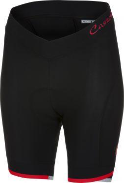 Castelli Vista short fietsbroek zwart/rood dames